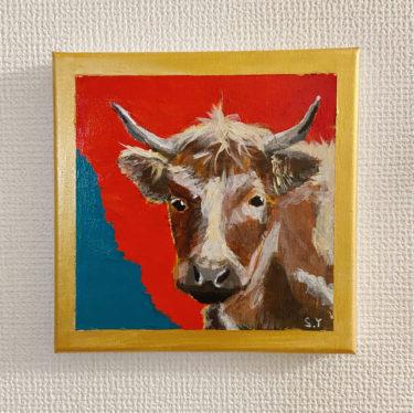 丑年なので牛の絵をアクリル絵の具で描きました。