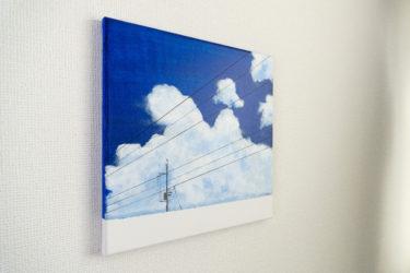夏空と電柱の絵を描きました。
